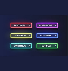 Colorful neon buttons for websites vector
