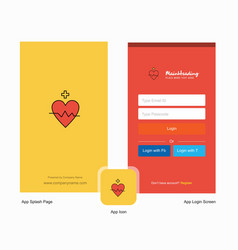Company heart rate splash screen and login page vector