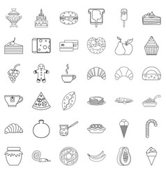 confectionery icons set outline style vector image