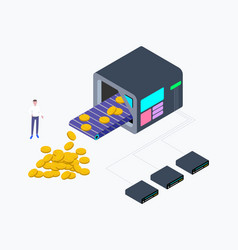 Cryptocurrency mining factory isometric vector
