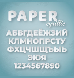 cyrillic paper alphabet white letters and numbers vector image
