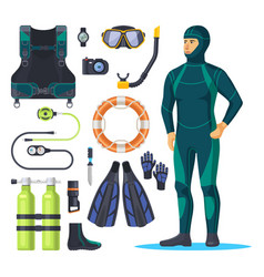 diver in scuba diving suit snorkeling man vector image