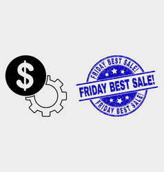 dollar setup gear icon and distress friday vector image