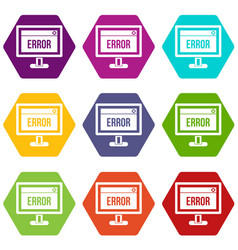 error sign on a computer monitor icon set color vector image