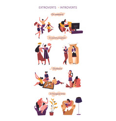 Extrovert and introvert comparison vector