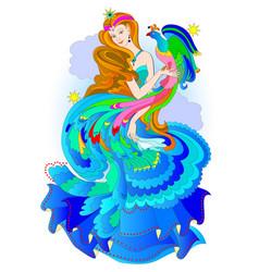 Fairyland eastern princess with magic fire-bird vector