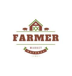 farmers market logo template vector image