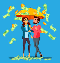 financial success business man and woman stands vector image