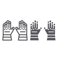Firefighter gloves line and glyph icon clothes vector