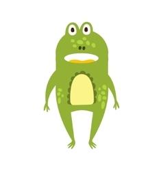 Frog Standing Facing Flat Cartoon Green Friendly vector