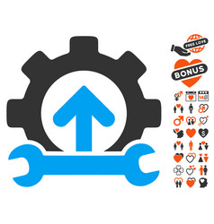 Gear integration tools icon with lovely bonus vector