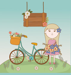 girl with bouquet and bicycle with basket filled vector image