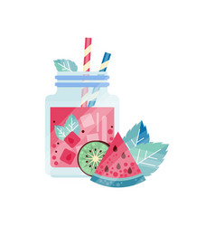 Glass jars with refreshing drink ice cubes and vector
