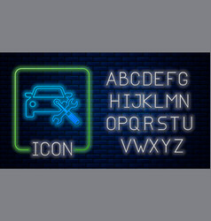 Glowing neon car with screwdriver and wrench icon vector