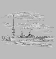 grey hand drawing st petersburg 6 vector image