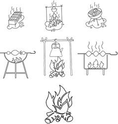 grill shashlik fire icons vector image