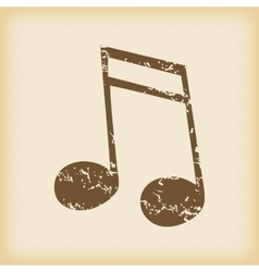 Grungy sixteenth note icon vector