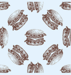 hand drawn food sketch for menu seamless pattern vector image
