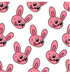happy bunny pet seamless pattern textile print vector image