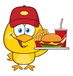 happy yellow chick holding a fast food tray vector image