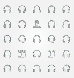 headphones colored icons set - headphone vector image