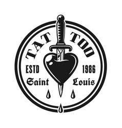 heart pierced knife tattoo studio emblem vector image