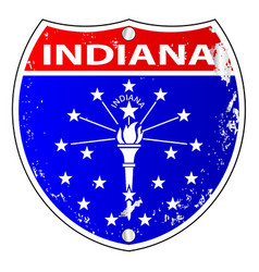 Indiana flag icons as a interstate sign vector