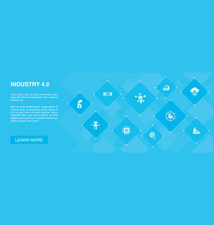 Industry 40 banner 10 icons concept internet vector