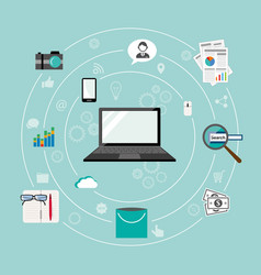 Internet things flat iconic vector