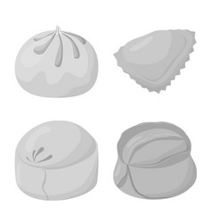 Isolated object dumplings and stuffed logo set vector