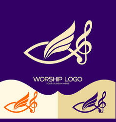 Jesus fish musical note treble clef and wing vector