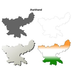 Jharkhand blank detailed outline map set vector