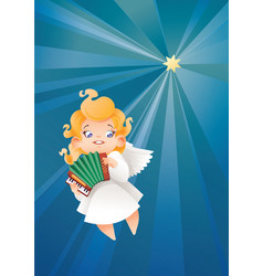 kid angel musician flying on a night sky making vector image