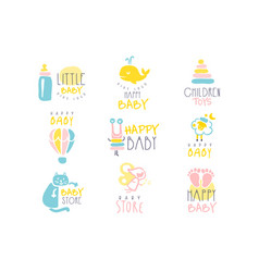 kids shop promo signs series of colorful vector image