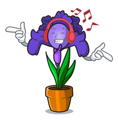 listening music iris flower mascot cartoon vector image