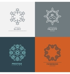 Logos templates in style with floral elements vector image