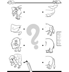 match halves animals coloring book vector image