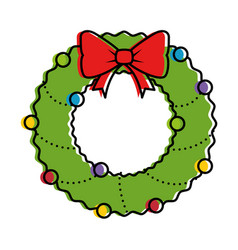 Merry christmas wreath crown vector