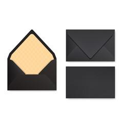 Mock-up black designed envelope front view vector