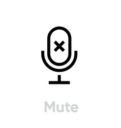 Mute microphone icon editable outline vector