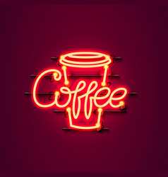 neon coffee text icon signboard vector image