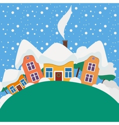 New Year and Christmas landscape in the daytime vector