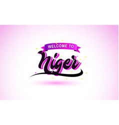 niger welcome to creative text handwritten font vector image