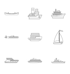 Ocean transport icons set outline style vector image