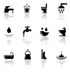 Plumbing sanitary engineering icons set vector