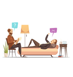 Psychotherapy session retro cartoon vector