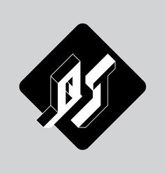 Q and t - monogram or logotype three-dimension vector
