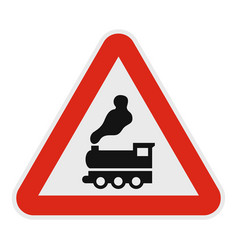 railway crossing without barrier icon flat style vector image