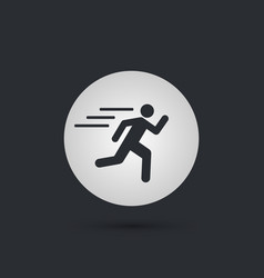 runnin man circle icon on black background vector image