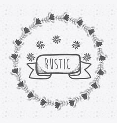 rustic ribbon banner with flowers hand drawn vector image